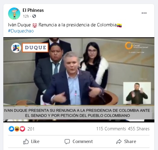 Video riba Facebook tocante renuncia di presidente di Colombia ta fake