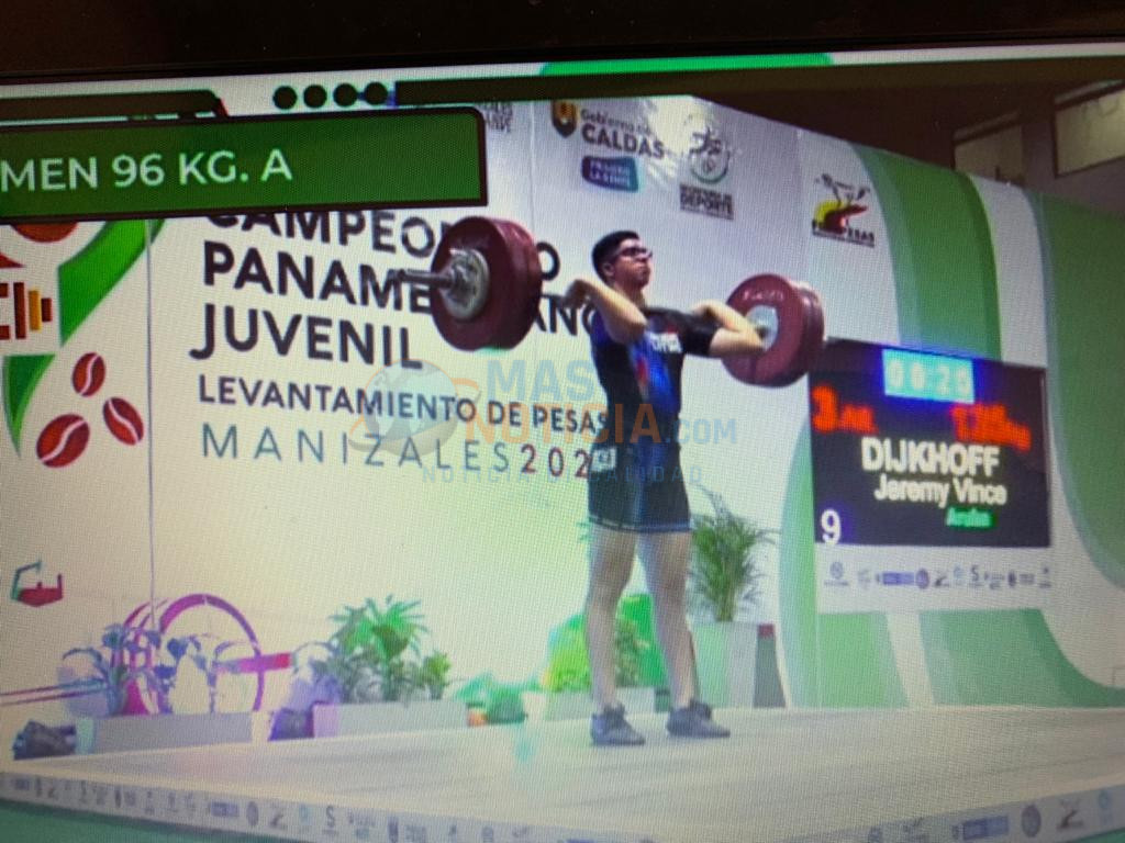 Bon actuacion di Jeremy Dijkhoff  den e Junior Pan-American Weightlifting  Championships na Manizales